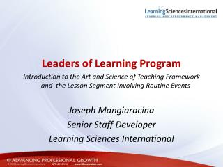 Leaders of Learning Program