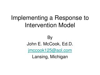 Implementing a Response to Intervention Model
