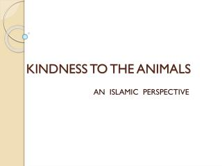 KINDNESS TO THE ANIMALS
