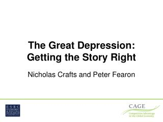 The Great Depression: Getting the Story Right