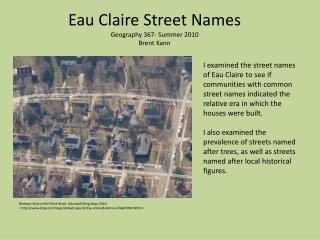 Eau Claire Street Names Geography 367- Summer 2010 Brent  Kann