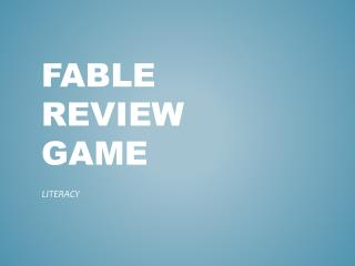 FABLE REVIEW GAME
