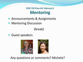 OCN 750 Class #4: February 4 Mentoring