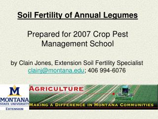 Soil Fertility of Annual Legumes Prepared for 2007 Crop Pest Management School
