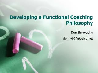 Developing a Functional Coaching Philosophy