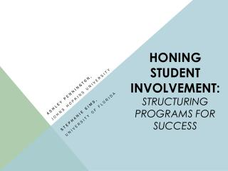 Honing Student Involvement:  Structuring Programs for Success