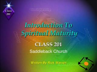 Introduction To   Spiritual Maturity