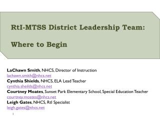 RtI -MTSS District Leadership Team:  Where to Begin