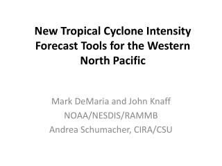 New Tropical Cyclone Intensity Forecast Tools for the Western North Pacific