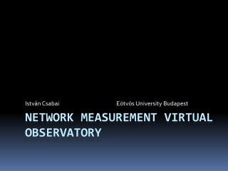 Network Measurement Virtual Observatory
