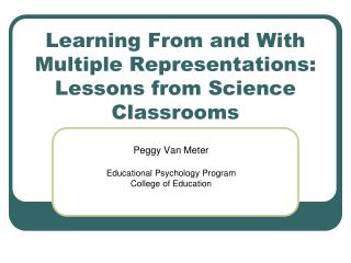 Learning From and With Multiple Representations: Lessons from Science Classrooms