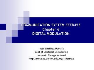 COMMUNICATION SYSTEM EEEB453 Chapter 6 DIGITAL MODULATION
