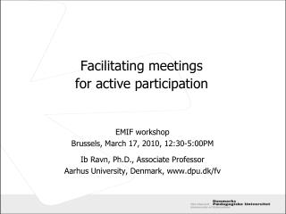 Facilitating meetings  for active participation