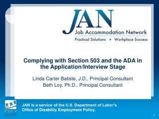 Complying  with Section 503 and the ADA in the Application/Interview  Stage
