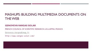 Mashups: building multimedia documents on the Web