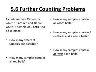 5.6 Further Counting Problems