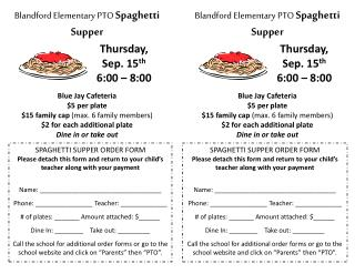 Blandford  Elementary PTO  Spaghetti Supper