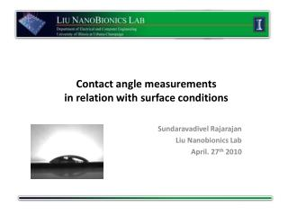 Contact angle measurements  in relation with surface conditions