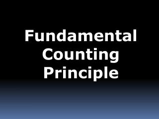 Fundamental Counting Principle