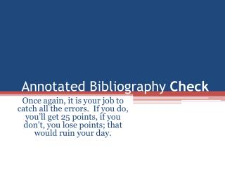 Annotated Bibliography  Check