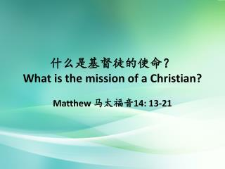 什么是基督徒的使命? What is the mission of a Christian?