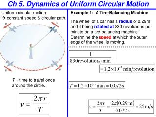 Ch 5. Dynamics  of Uniform Circular Motion