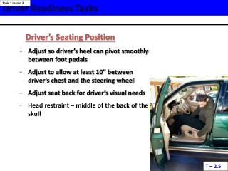 Driver Readiness Tasks