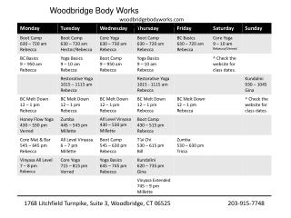 Woodbridge Body Works woodbridgebodyworks February 2012 Schedule
