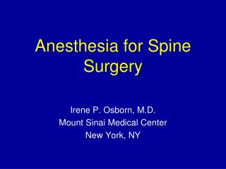 Anesthesia for Spine Surgery