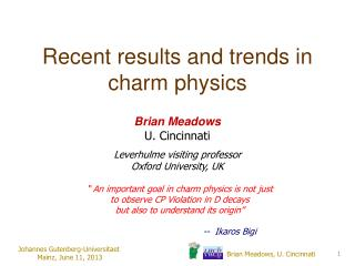 Recent results and trends in charm physics