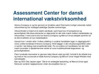 Assessment  Center for dansk international vækstvirksomhed