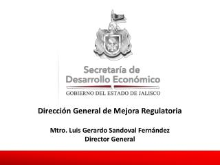 Dirección General de Mejora Regulatoria Mtro. Luis Gerardo Sandoval Fernández Director General