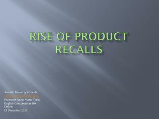 Rise of Product Recalls