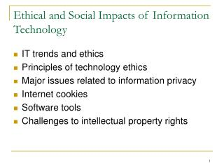 Ethical and Social Impacts of Information Technology