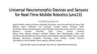 Universal Neuromorphic Devices and Sensors for Real-Time Mobile Robotics (uns13)