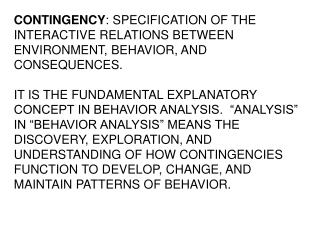 CONTINGENCY : SPECIFICATION OF THE