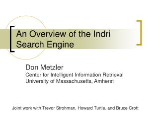 An Overview of the Indri Search Engine