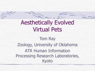 Aesthetically Evolved Virtual Pets