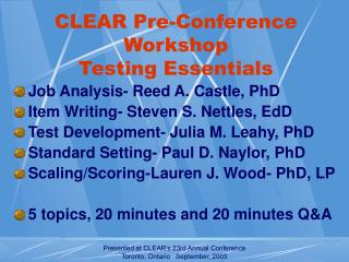 CLEAR Pre-Conference Workshop Testing Essentials