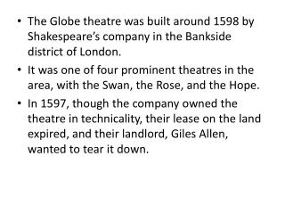 The History of the Globe Theatre