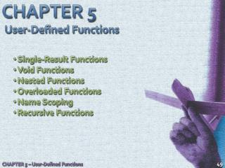 CHAPTER 5 User-Defined Functions