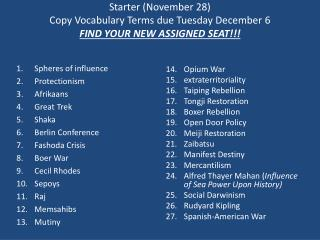 Starter (November 28) Copy Vocabulary Terms due Tuesday December 6 FIND YOUR NEW ASSIGNED  SEAT!!!