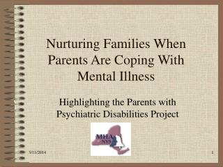 Nurturing Families When Parents Are Coping With Mental Illness