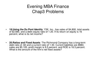 Evening MBA Finance  Chap3 Problems