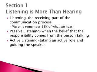 Section 1 Listening is More Than Hearing