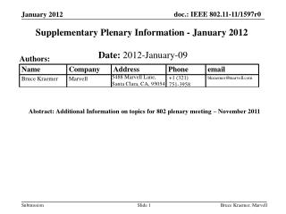 Supplementary Plenary Information - January 2012