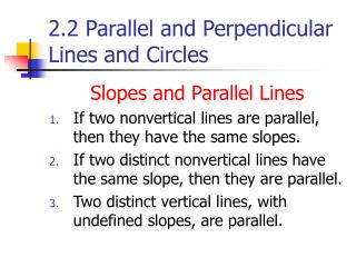 2.2 Parallel and Perpendicular Lines and Circles