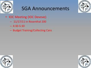 SGA Announcements