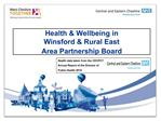 Health  Wellbeing in  Winsford  Rural East  Area Partnership Board