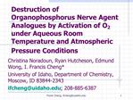 Destruction of Organophosphorus Nerve Agent Analogues by Activation of O2 under Aqueous Room Temperature and Atmospheric